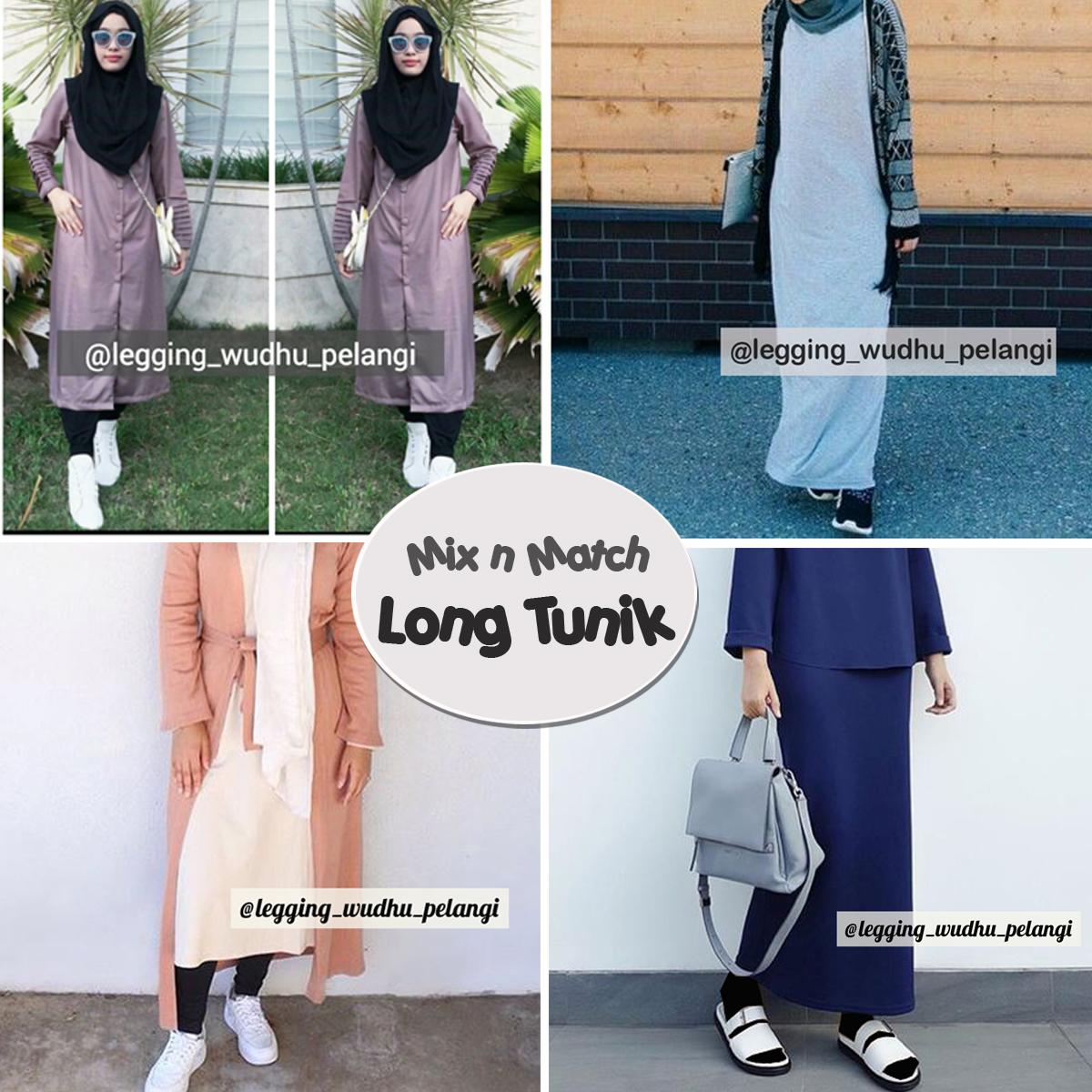 Padu Padan Rok Panjang Terbaru Legging Wudhu Pelangi Celana Hijab