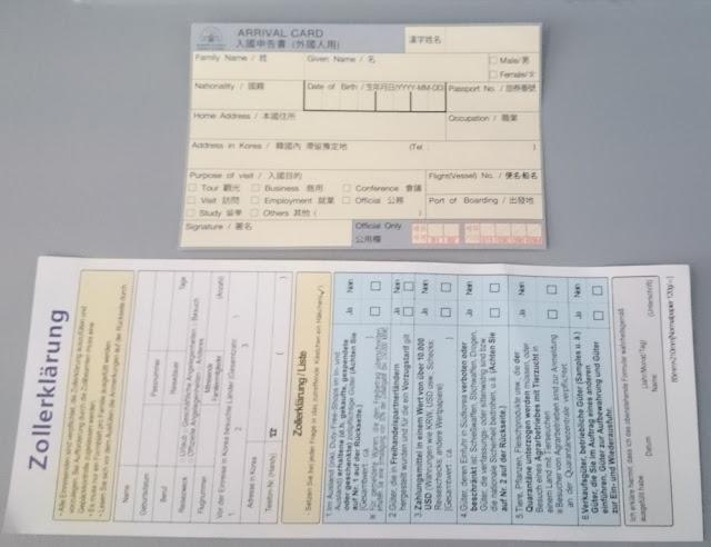 Einreisepapiere nach Südkorea, Arrival Card und Zollerklärung