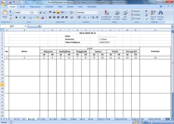 Format Penilaian Kurikulum 2013 SD Kelas 1 2 3 4 5 6