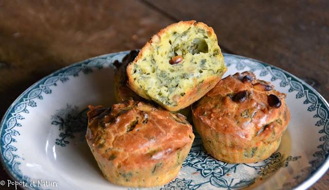 Mini cakes au chou kale, bettes, fromage frais et pignons © Popote et Nature