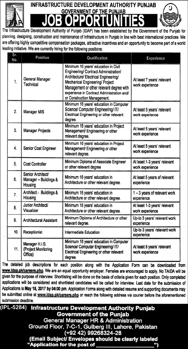 Govt Jobs  in Infrastructure Development Authority Lahore 4 May 2017