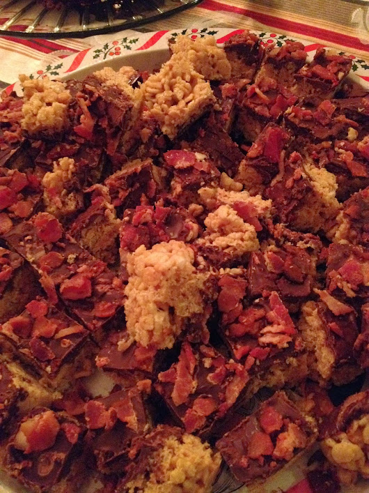 Christmas Crack (Peanut Butter Rice Crispy Treats with Melted Chocolate and Bacon Crumbles)