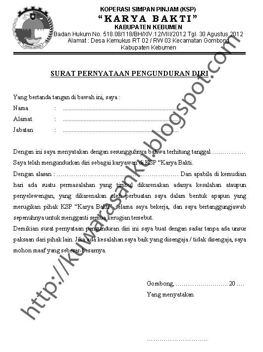 Contoh Surat Pengunduran Diri Kepala Sekolah Contoh Jal