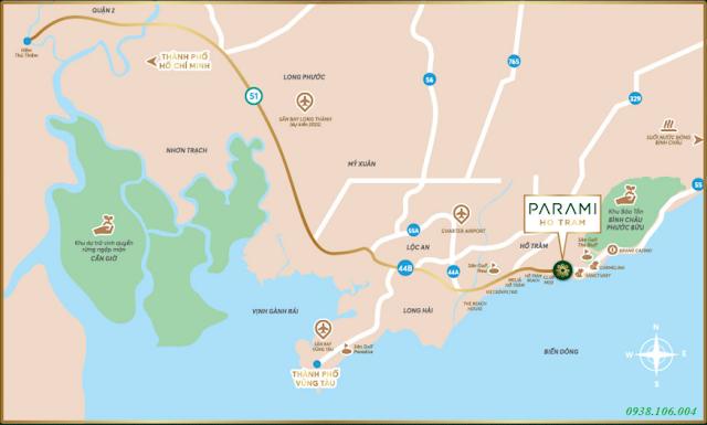 Bảng giá condotel Parami Hồ Tràm Vũng Tàu - Vị trí tổng quan