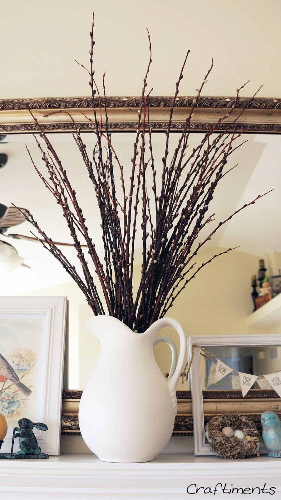 Craftiments:  Pitcher of dried pussy willow branches