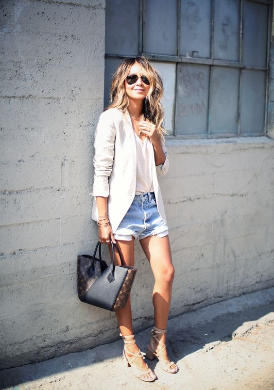 Sincerely Jules levis Denim Shorts Louis Vuitton Kimono Bag Gladiator Sandals
