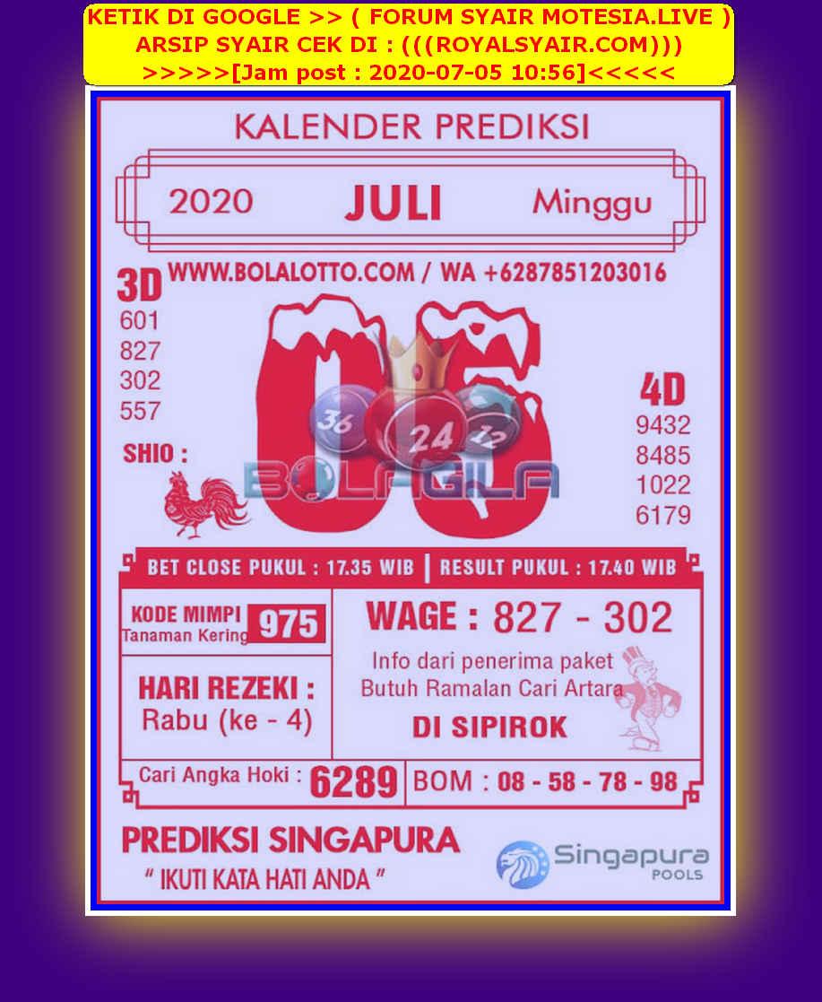 Kode syair Singapore Minggu 5 Juli 2020 95