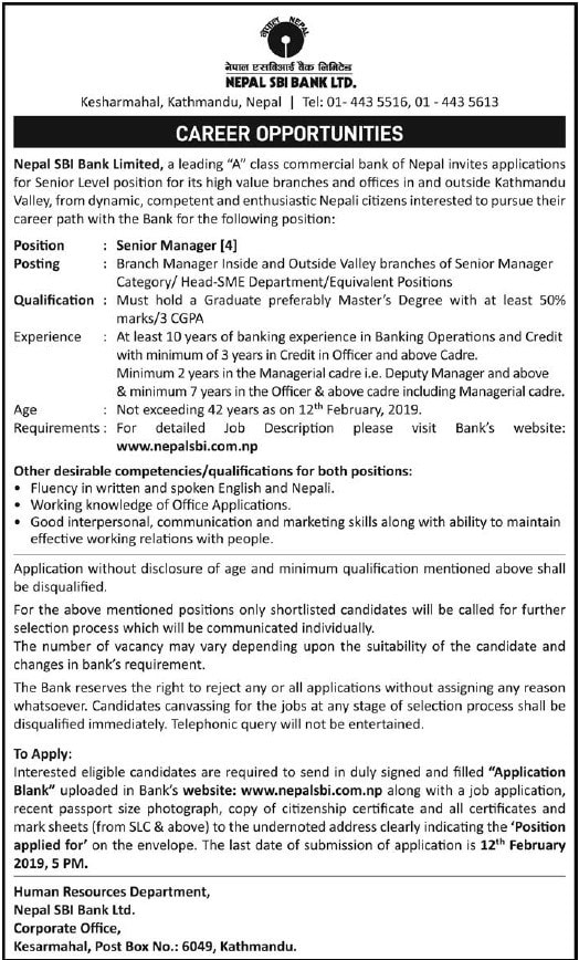 Career Opportunities at Nepal SBI Bank Limited  - Nelomasi