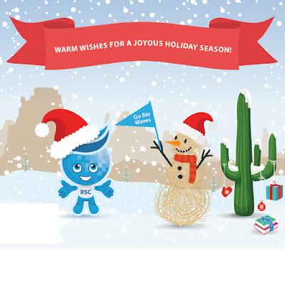 Mascot Splash with a Santa cap near a tumbleweed snowman, superstition mountains in the background.  Text: Warm wishes for a Joyous Holiday Season