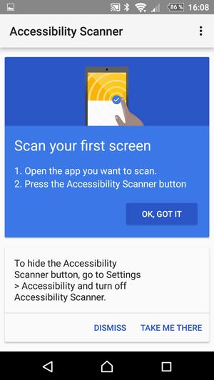 Pantallazo de la aplicación. Se enumeran los pasos para escanear una aplicación (abrirla y pulsar el botón) y las instrucciones para desactivar la herramienta (ir a 'Ajustes > Accesibilidad'). Todas las instrucciones están en inglés.