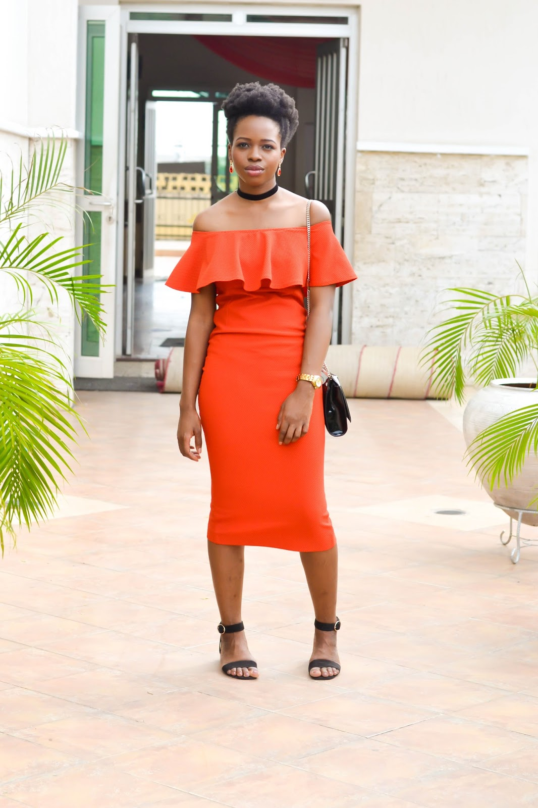Red Off Shoulder Dress on International Fashion Blogger