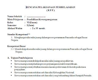 Download Contoh RPP Silabus SD Terbaru Kelas 6  Kurikulum KTSP