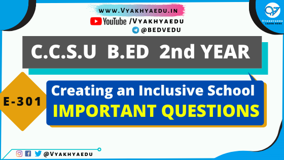 CCSU B.ED 2nd Year Most Important Questions : Creating an Inclusive School | E-301