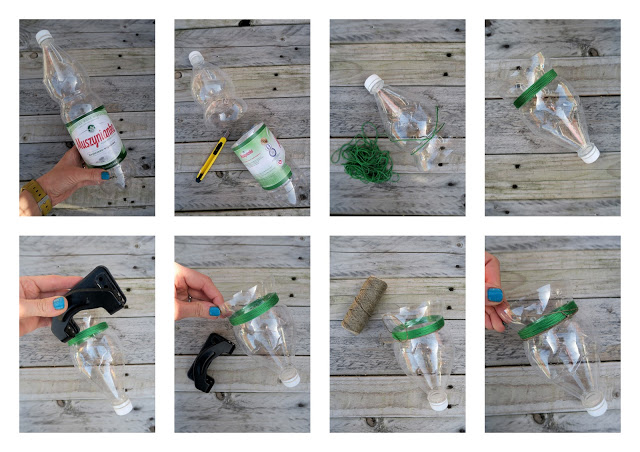 Macetas colgantes coloridas reciclando botellas de for Maceteros de botellas