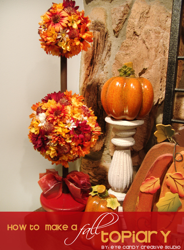 fall mantle decor, fall flowers, how to make a flower topiary, fall, leaves