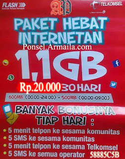 Cara Daftar Paket CUG Telkomsel 1.1 GB 20Ribu -
