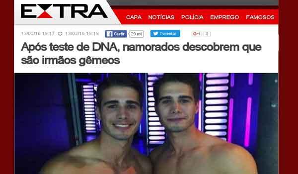 Após exame de DNA namorados descobrem que são irmãos gêmeos - Boato Fake News