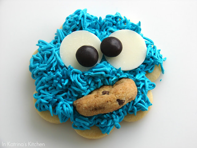 close up image of decorated cookie to look like cookie monster