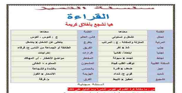 ملزمة لغة عربية للصف الأول الاعدادى ترم ثانى 2020