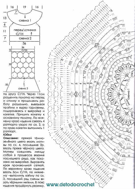 Bellísima Pollera y Blusa Crochet / Patrones de revista rusa