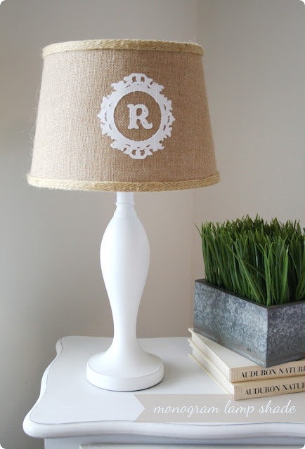 20 diy lamp makeovers creations by kara monogram lampshade mozeypictures Images