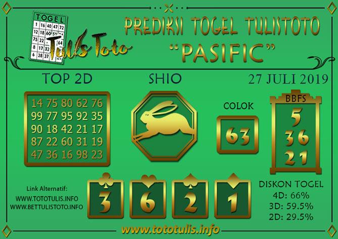 Prediksi Togel PASIFIC TULISTOTO 27 JULI 2019