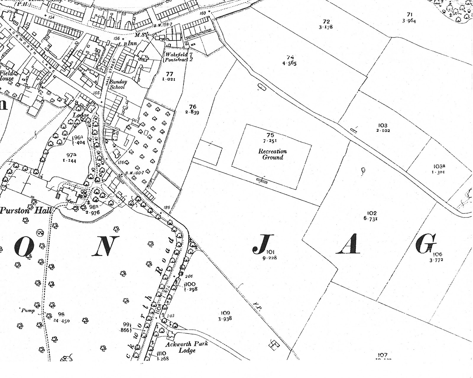 The fields that became the first purston council house estate are that with the j of purston in it and the one above which was once the ground of purston
