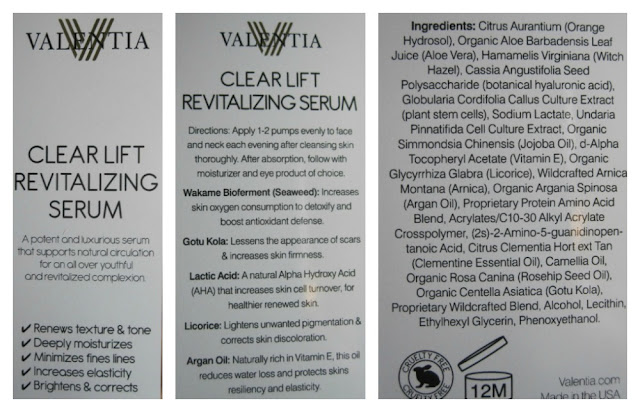 Valentia Clear Lift Revitalizing Serum Ingredients