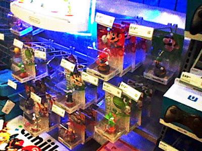 Silver Mario amiibo on shelf