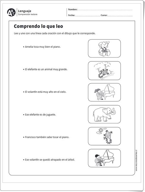 """""""Comprendo lo que leo"""" (Ficha de Lengua Española de Primaria)"""