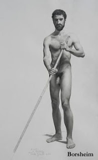 Naken Gondolier Carbon pencil drawing of male model by Kelly Borsheim