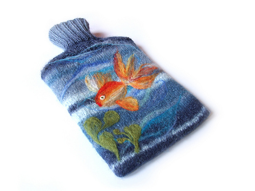 Knitted and felted hot water bottle cover with goldfish design