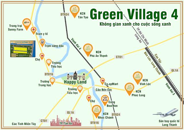 Vị trí dự án Green Village 4 Bến Lức Long An