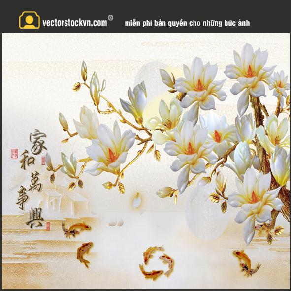 Tranh hoa 3d _ Tranh cá vàng