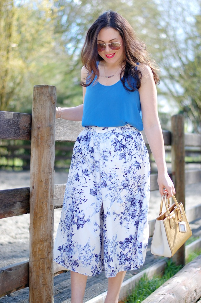 Boohoo Canada floral culottes and gold Prada Saffiano Lux tote Covet and Acquire