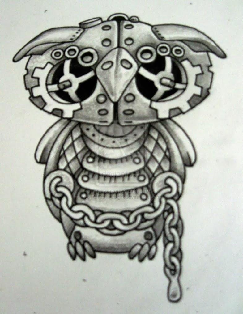 Owl steampunk tattoo stencil