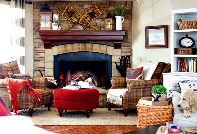 Corner stone fireplace in winter family room
