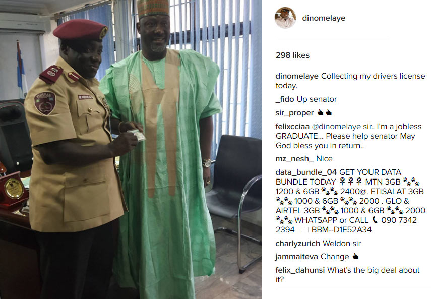 Dino Melaye gets drivers license from FRSC