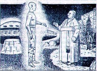 Representación artística del encuentro del Papa Juan XXIII con una supuesta entidad extraterrestre.