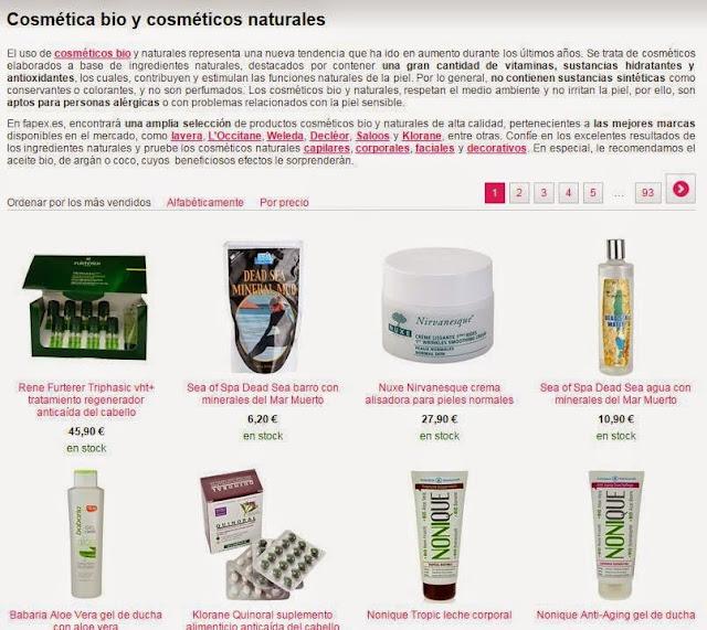 Cosmética bio en fapex.es