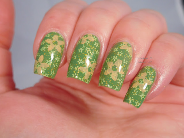 UberChic Beauty 16-02 over Sugar Flor Medusa, stamped with Moonflower Polishes stamping polish in Apple, Lemon, and Mango