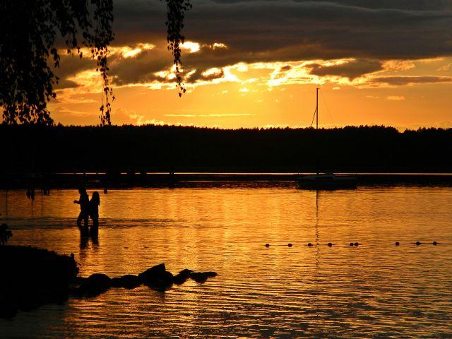 ludzie, kąpiel, zachód słońca, jezioro, Niesulice, Niesłysz, Kormoran