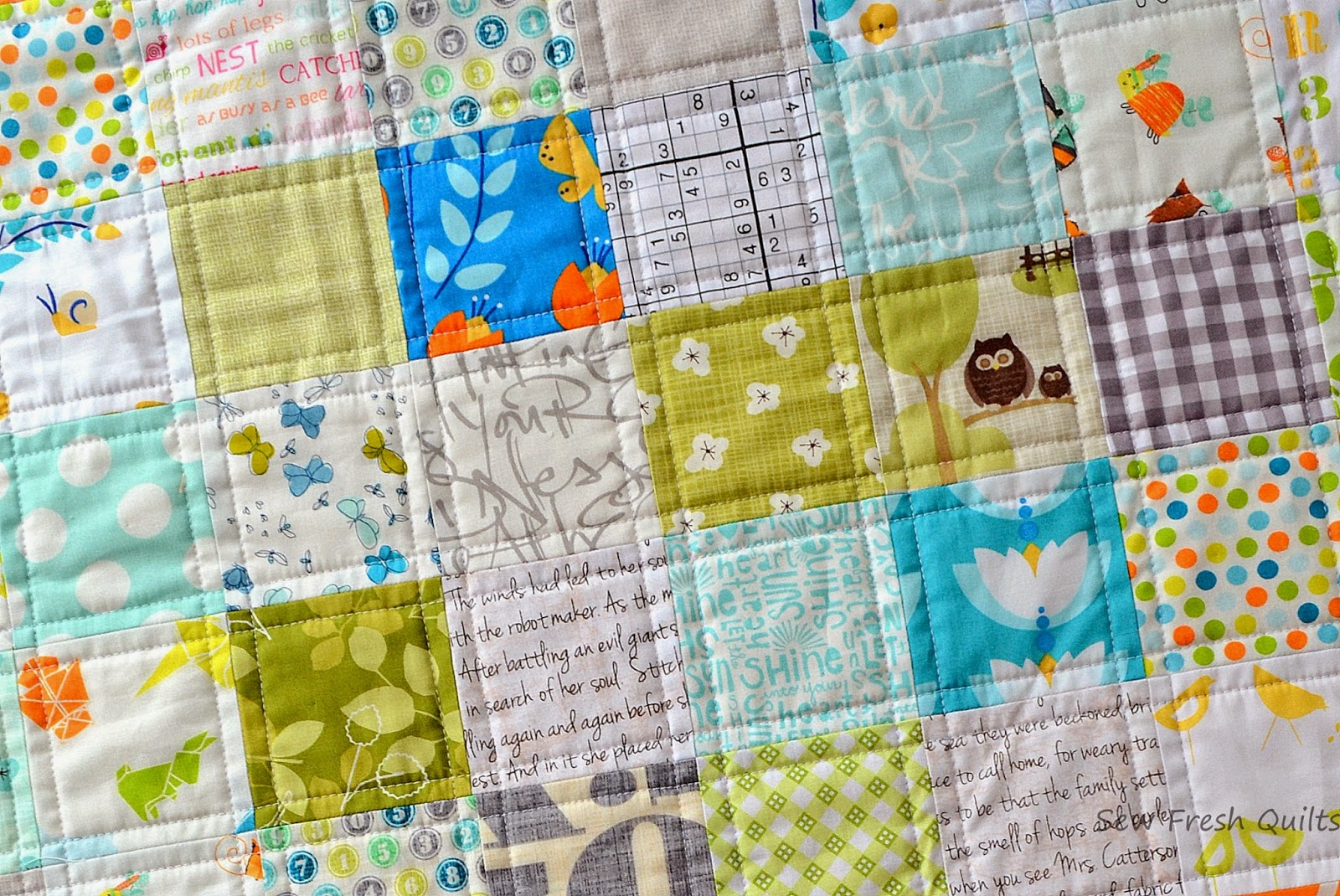 custom order baby quilt with straight line quilting