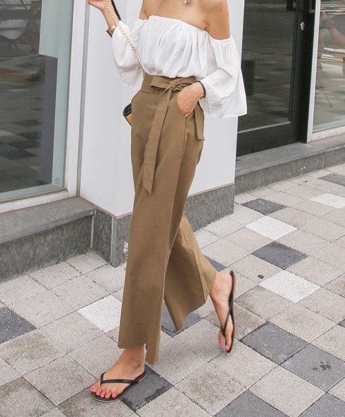 Darted Cropped Wide Leg Pants