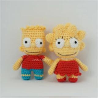 patron amigurumi Bart y Lisa de Los Simpsons canal crochet