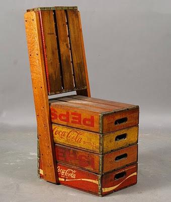 Silla con rejas de refresco de madera