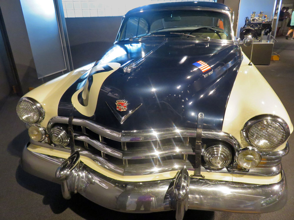 1950 Cadillac coupe in racing colors.