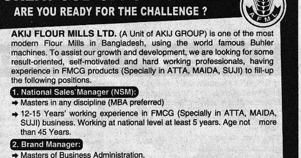 All Newspaper Jobs: Akij Flour Mills Ltd, Post: National sales