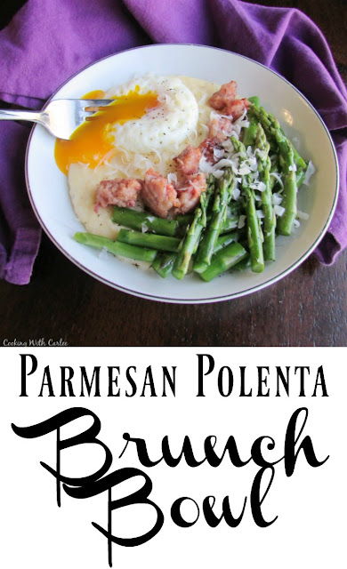A deliciously creamy Parmesan polenta is topped with asparagus, sausage and a poached egg for this mouth watering brunch bowl. The flavors marry perfectly for this delightful brunch in a bowl.