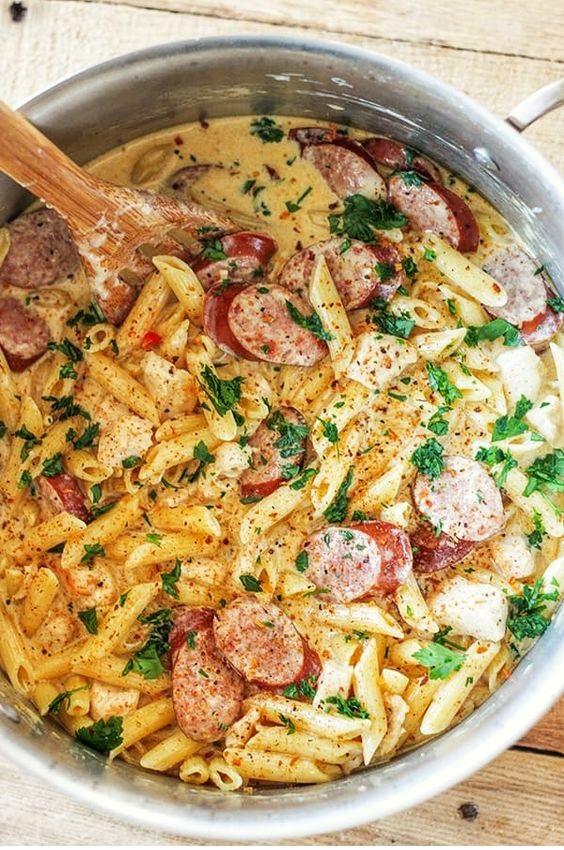 One Pot Cajun Chicken And Sausage Alfredo Pasta